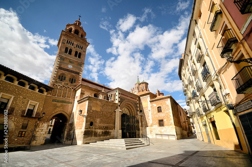 View of Cathedral of Saint Mary of Mediavilla facade of Teruel, Spain.