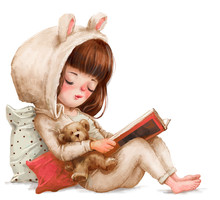 Cute Cartoon Girl With Book
