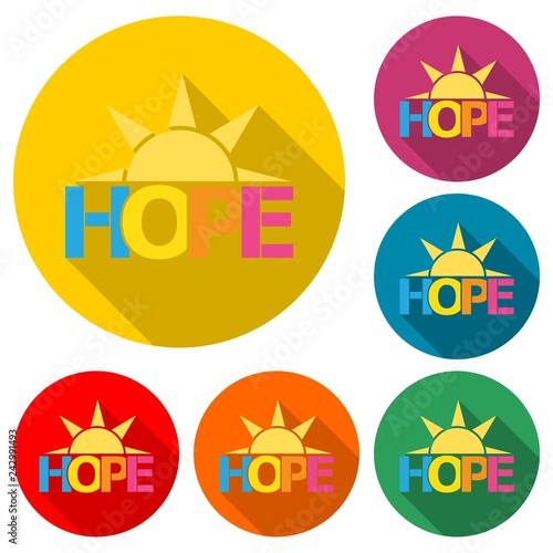 Photo  HOPE icon or logo, color set  with long shadow
