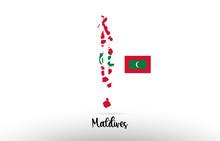 Maldives Country Flag Inside Map Contour Design Icon Logo