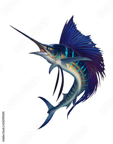 Sailfish fish on white. Striped big marlin. Sports fishing in the open sea. Wall mural