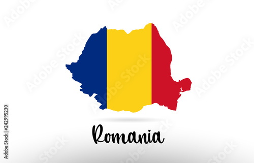 Obraz na plátně Romania country flag inside map contour design icon logo
