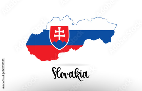 Obraz na plátně Slovakia country flag inside map contour design icon logo
