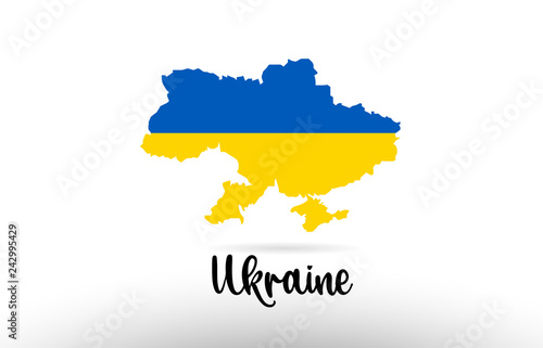 Ukraine country flag inside map contour design icon logo Canvas Print