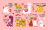 Fototapeta Dinusie - Valentine's day cute animals set with llama, sloth, unicorn, cats, dinosaur, bunny, tiger and turtle.