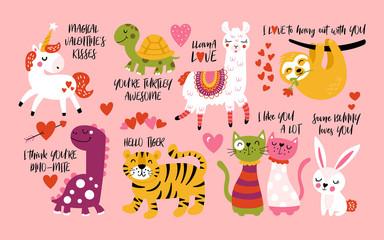 Valentine's day cute animals set with llama, sloth, unicorn, cats, dinosaur, bunny, tiger and turtle.