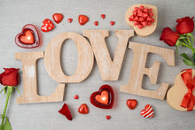 Valentine's Day Background With Love Letters, Heart Shape Chocolate, Candles, Rose Flowers And Gift Boxes.
