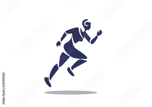 Man sprint running flat icon