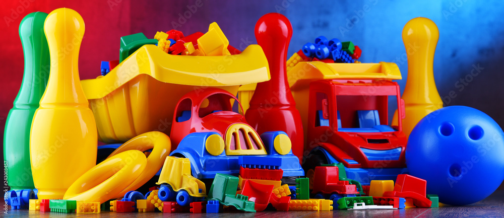 Fototapety, obrazy: Composition with colorful plastic children toys