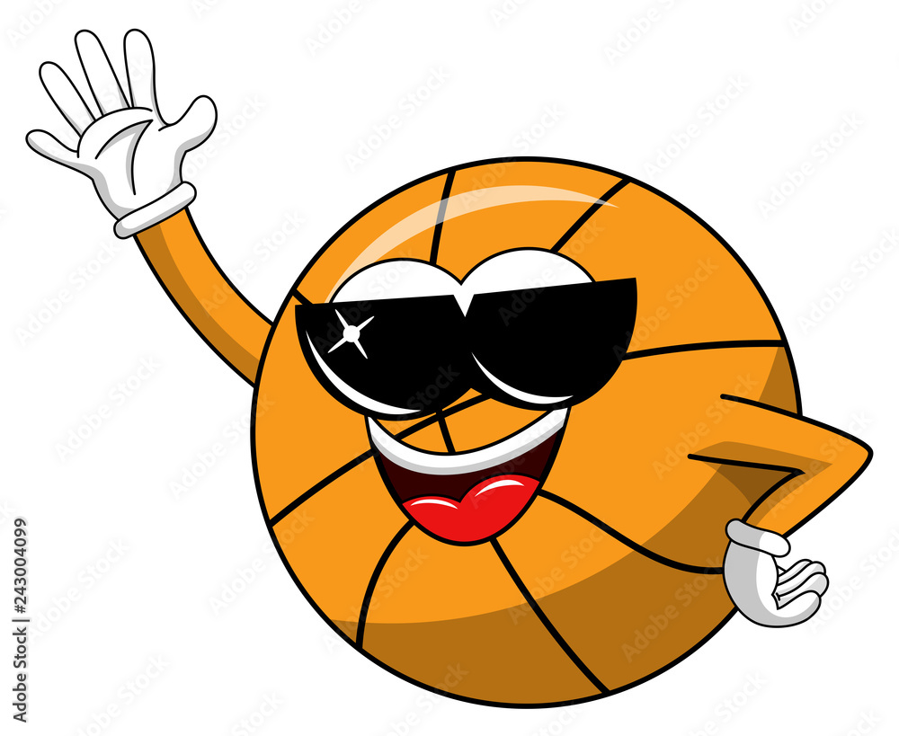 basketball ball cartoon funny character cool sunglasses waving isolated