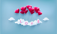 Illustrated Love Balloons With Beautiful Shapes. The Beauty Of A Love Balloon Above The Clouds