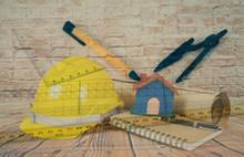 Yellow Construction Helmet And...
