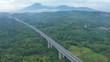 Aerial landscape of long bridge on Trans-Java Toll Road at Semarang, Central Java, Indonesia. Shot in 4k resolution