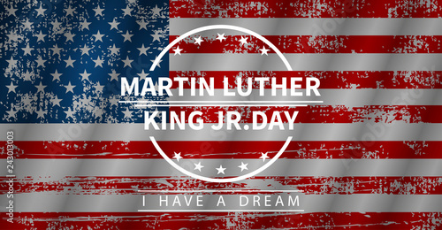 Martin Luther King Day, vector illustration in flat style Canvas Print
