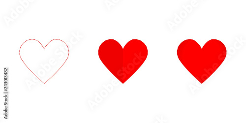 Hearth set icon red colored on a white background, valentine day Canvas Print