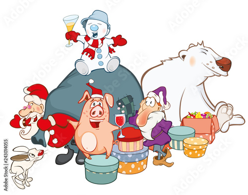 Vector Illustration of a Santa Claus and his Helpers Cartoon