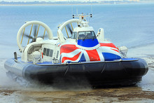 Hovercraft Coming Off The Sea On To Land