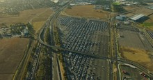 Aerial View Melbourne Airport Parking With Tullamarine Freeway