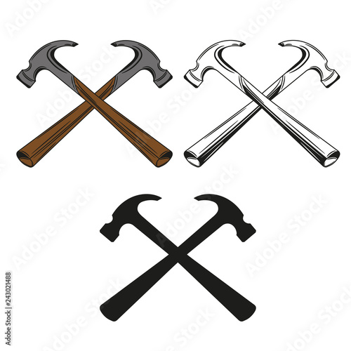 Valokuva Set of crossed hammer icon in monochrome, color and black style