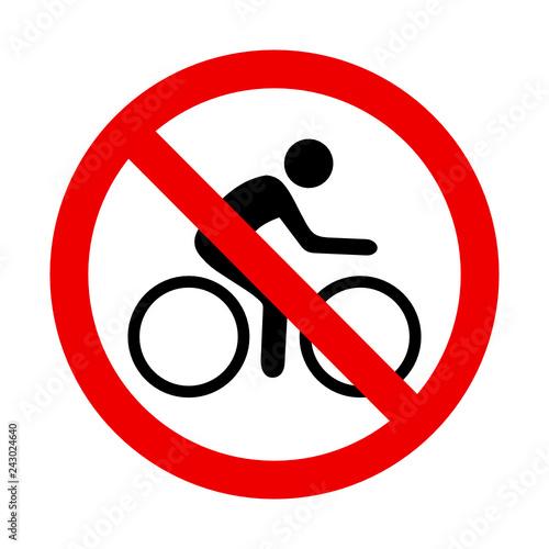 znak zakazu dla rowerów - fototapety na wymiar
