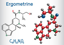 Ergometrine Drug Molecule. Structural Chemical Formula And Molecule Model.