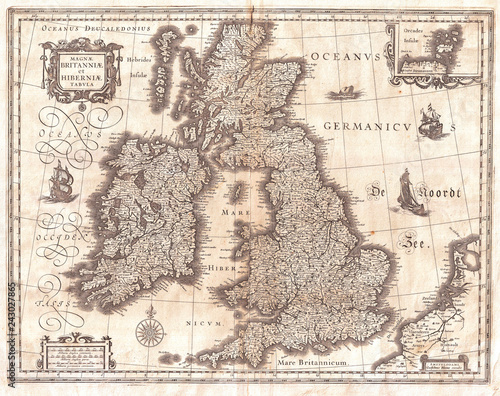 1631, Blaeu Map of the British Isles, England, Scotland, Ireland