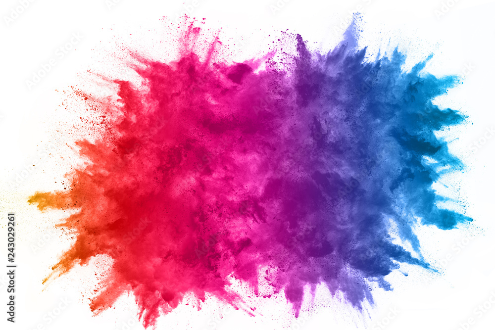 Fototapety, obrazy: abstract powder splatted background. Colorful powder explosion on white background. Colored cloud. Colorful dust explode. Paint Holi.
