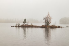 Small Island In A Lake In Fog During Autumn. Shot In Sweden An Early Morning All Alone In The Forest.