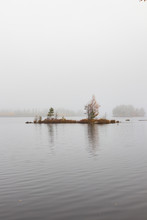 Small Island In A Lake In Fog ...