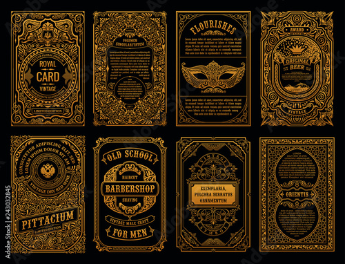 Fototapeta Vintage set retro cards. Template greeting card wedding invitation. Line calligraphic frames obraz