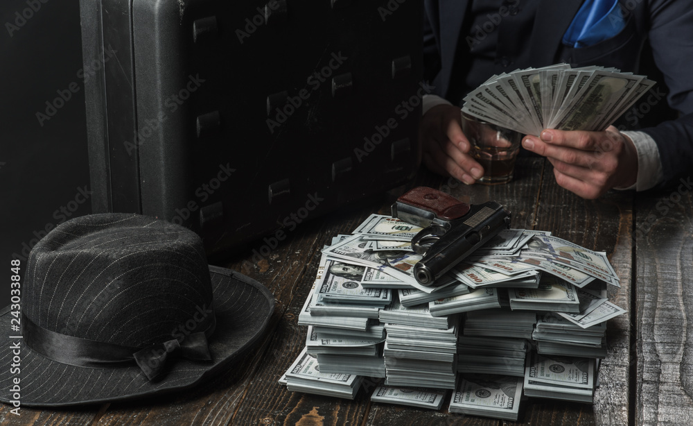 Fototapeta Small business concept. Businessman work in accountant office. Economy and finance. Man bookkeeper. Man in suit. Mafia. Making money. Money transaction. I t is all mine