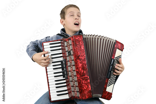 Fényképezés  Young Accordionist Singing And Playing Harmonica Isolated On White Background