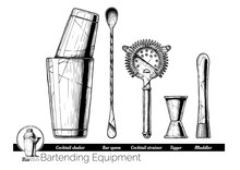 Illustration Of Bartending Equ...