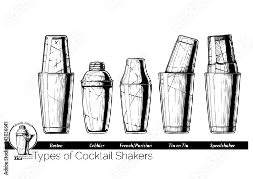Fotografia  Cocktail shakers types