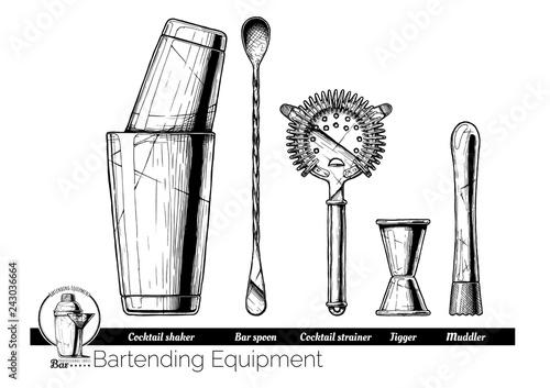 illustration of bartending equipment Obraz na płótnie