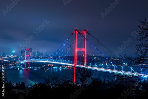 Fotografie, Obraz Istanbul Bosphorus Bridge at night