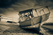 Monochrome Of An Old Damaged A...