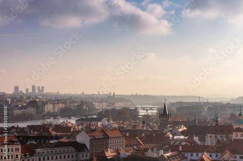 Rooftops and bridges of Prague, Czech Republic viewed from the Prague Castle.