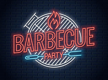 Barbecue Grill Neon Logo. BBQ Neon Sign On Wall