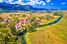 Colorful Gacka Valley Field And River Aerial Summer View
