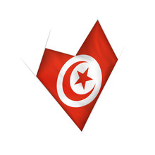 Sketched Crooked Heart With Tunisia Flag