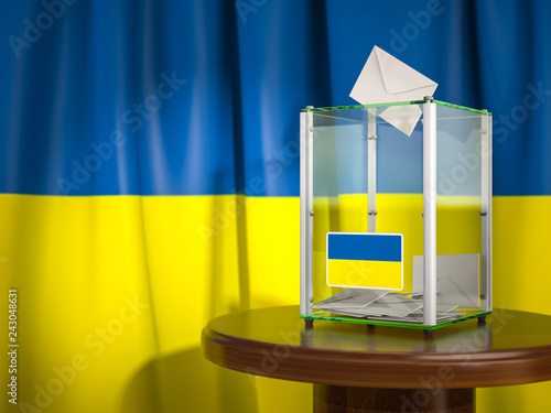 Stickers pour porte Pierre, Sable Ballot box with flag of Ukraine and voting papers. Ukrainian presidential or parliamentary election.