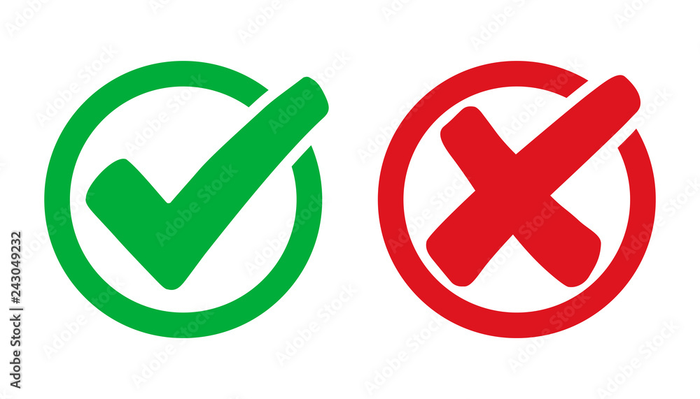 Fototapety, obrazy: Set check mark and cross in circle - stock vector