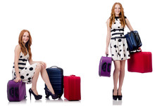 Beautiful Woman In Polka Dot Dress With Suitcases Isolated On Wh