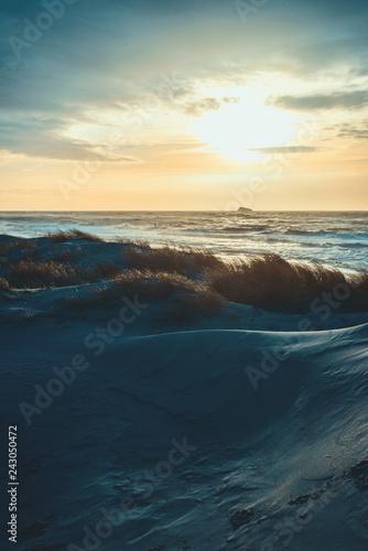 Foto op Aluminium Zee zonsondergang Sonnenuntergang in den Dünen von Dänemark