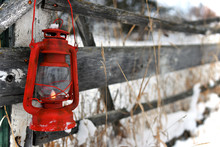 Old Red Lantern Close Up