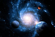 canvas print picture - Planets of the solar system against the background of a spiral galaxy in space. Elements of this image furnished by NASA.