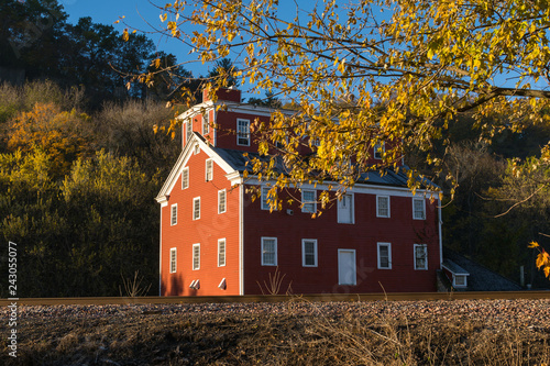 Photo  Old gristmill on a brisk Autumn/ Fall morning.  Iowa, USA
