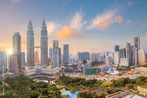 Photo Stands Kuala Lumpur Kuala Lumper skyline at twilight