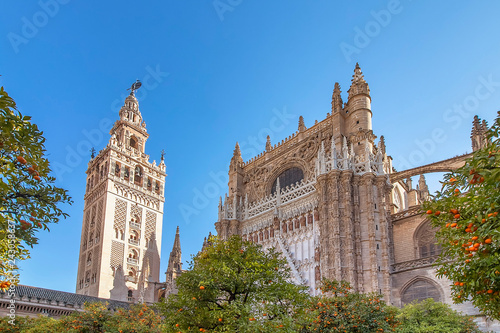 Fotografie, Obraz  View of Seville Cathedral of Saint Mary of the See (Seville Cathedral)  with Gir